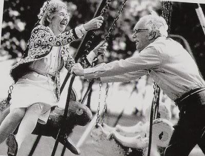 <3Old Age, Life, Young At Heart, Happy, Swings, Old Couples, Beautiful, True Love, People