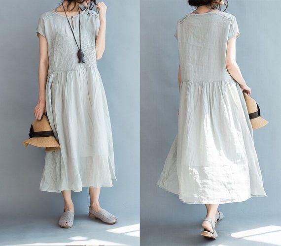 women embroidered cotton long dress /linen dress by babyangella