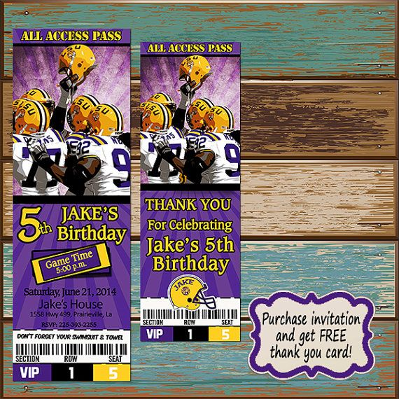 Hey, I found this really awesome Etsy listing at https://www.etsy.com/listing/209867066/lsu-ticket-birthday-invitation-and-free