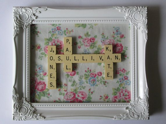 Scrabble Tile Word Art Picture Frame Family Gift - Family names - Personalised Names - Shabby Chic Cath Kidston spray flowers