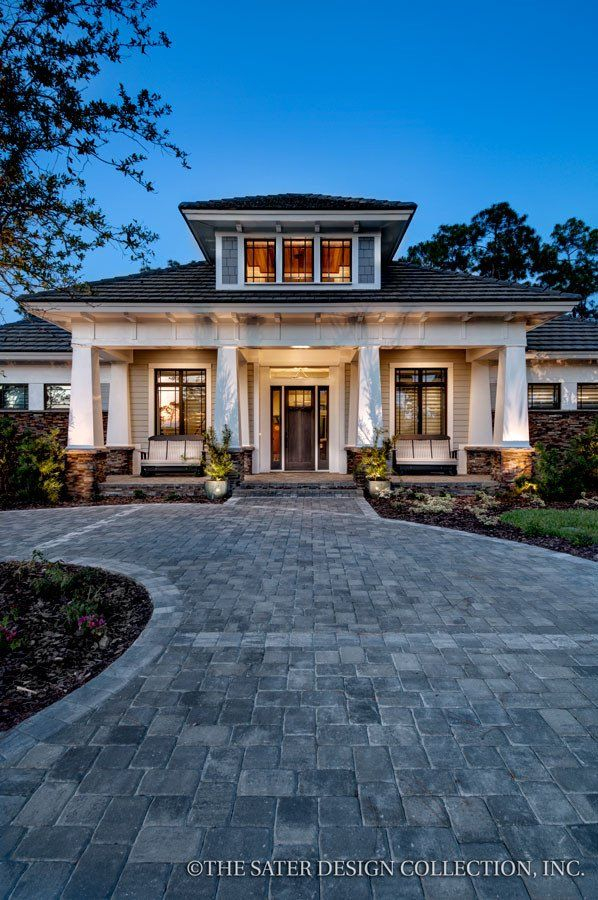 Prairie Pine Court Home Plan l Front Facade l Sater Design Collection l Luxury Home Plans l Luxury Home Designs