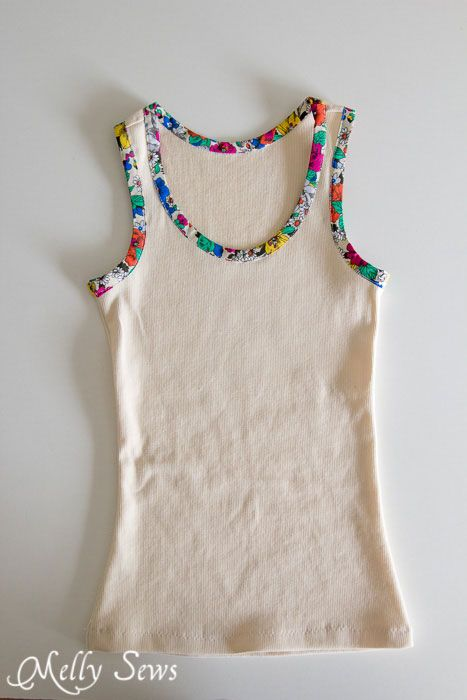 Bias trim tank top tutorial and free pattern to sew a women's rib knit tank top/ requires subscription to newsletter, but you get a bunch of free patterns