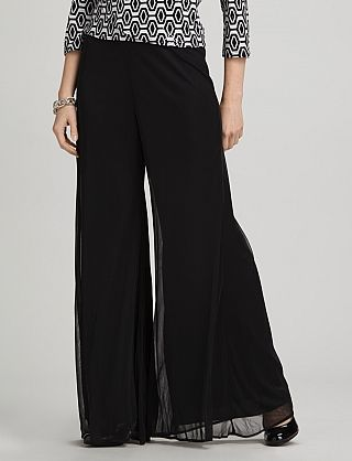 Sheer Matte Palazzo Pants.  So nice for that dressy evening to, especially paired with a silver metallic top and black velvet jacket.
