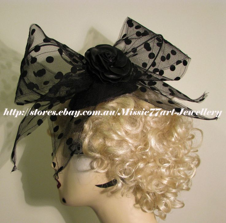 Black Net Vintage Inspired Polka Dot Bow Fascinator Hat with Rose - Horse Racing by Missie77art Jewellery on ebay