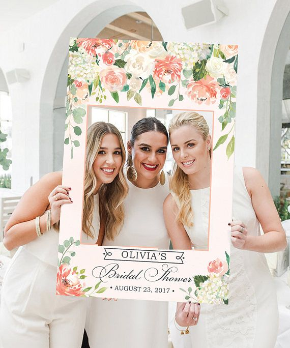 Wedding Photo Prop  Bridal Shower Photo Prop  Pretty Peach