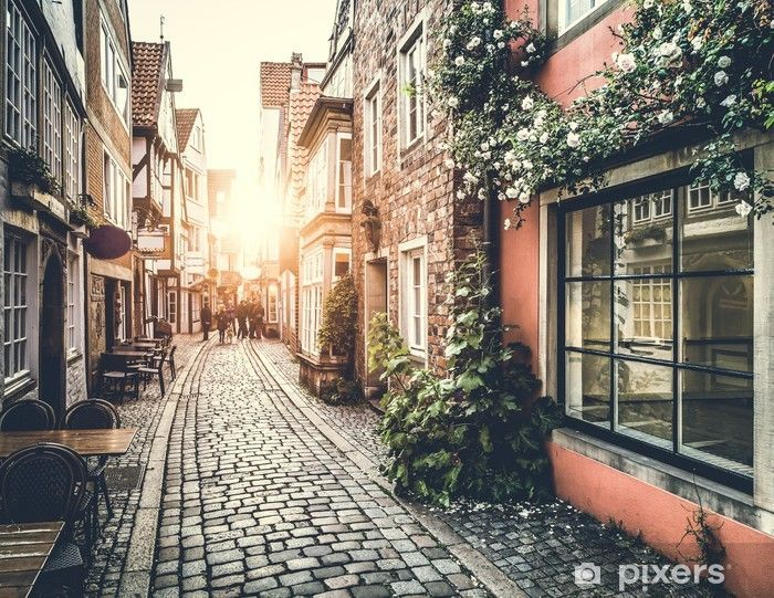 Historic Street In Europe At Sunset Wall Mural Pixers We Live To Change In 2020 Studio Backdrops Backgrounds Photo Backgrounds City Wallpaper