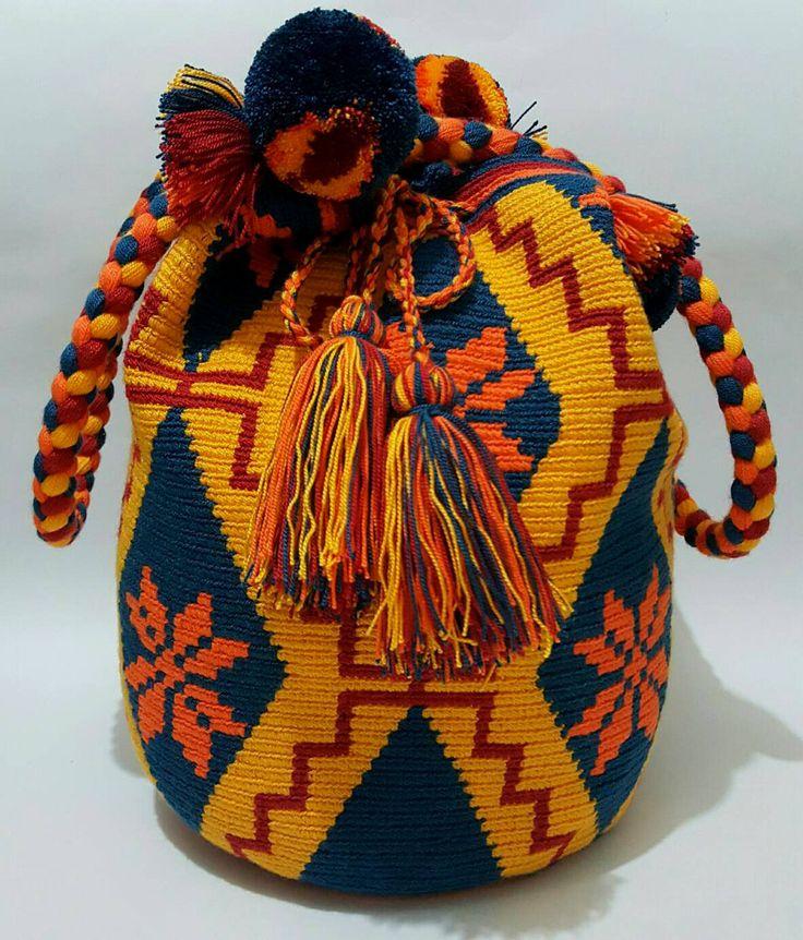 Wayuu Bag-Pom Pom BlueTribe - Alynshop