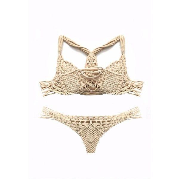 Koh Samui Cream Bikini ($185) ❤ liked on Polyvore featuring swimwear, bikinis, bikini, strap bikini, metallic bikini, caged bikini, strappy bikini swimwear and fringe bikini
