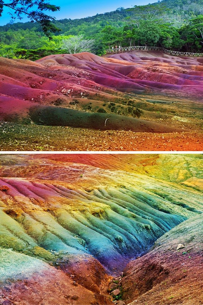 Seven Colored Earth of Chamarel, Mauritius in the Indian Ocean off the coast of Africa. This was caused when volcanic rock colled at different temps. 20 UNREAL Travel Destinations! Click through to read the full post!