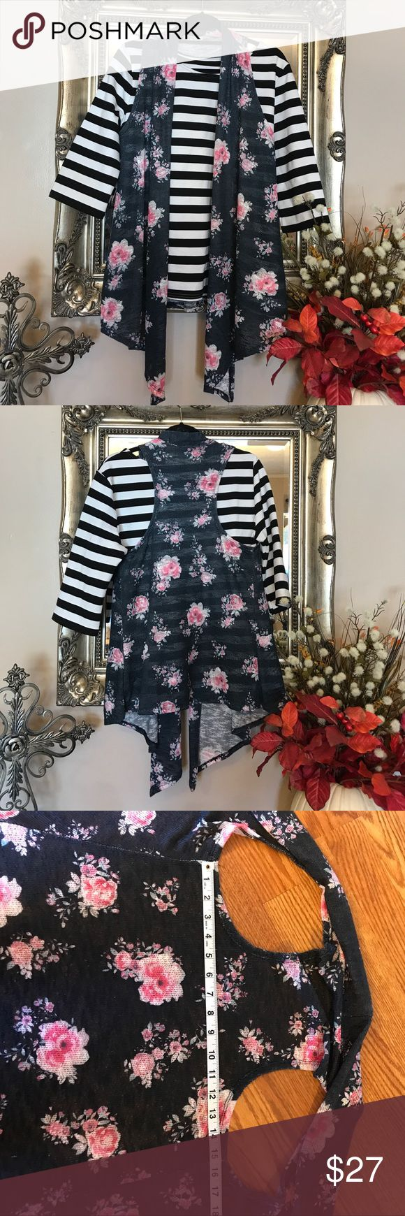 """NWOT Etched Brand Floral Vest Size Large NWOT Etched Brand Floral Vest Size Large 15"""" back measurements but the way it hangs it's really big. Etched Tops"""