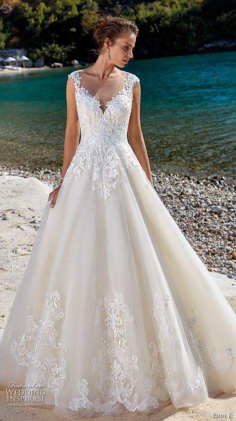 aaba826ac17c eddy k 2018 bridal cap sleeves illusion jewel sweetheart neckline heavily  embellished bodice romantic a line wedding dress sheer lace back chapel  train (11) ...