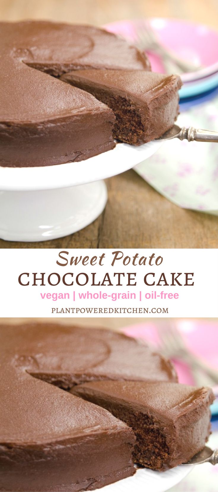 This vegan cake is sweetened partially with cooked sweet potato, which also adds moisture and a tender texture. Pair it withChocolate Sweets Frosting and you have a cake fit for a special occasion! #VeganDesserts #dessertfoodrecipes