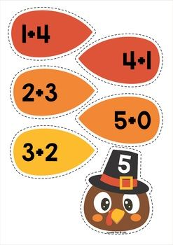 Thanksgiving Math Centers for Kindergarten. Turkey addition.