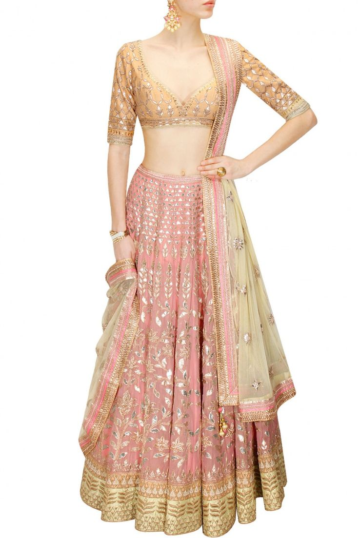 ANITA DONGRE - Blush pink gota patti embroidered lehenga set available only at Pernia's Pop-Up Shop. Indian fashion.
