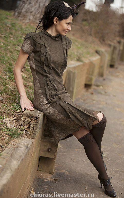 Купить Эксклюзивное платье ручной работы Taupe Dress - Таупе цвет, Платье таупе