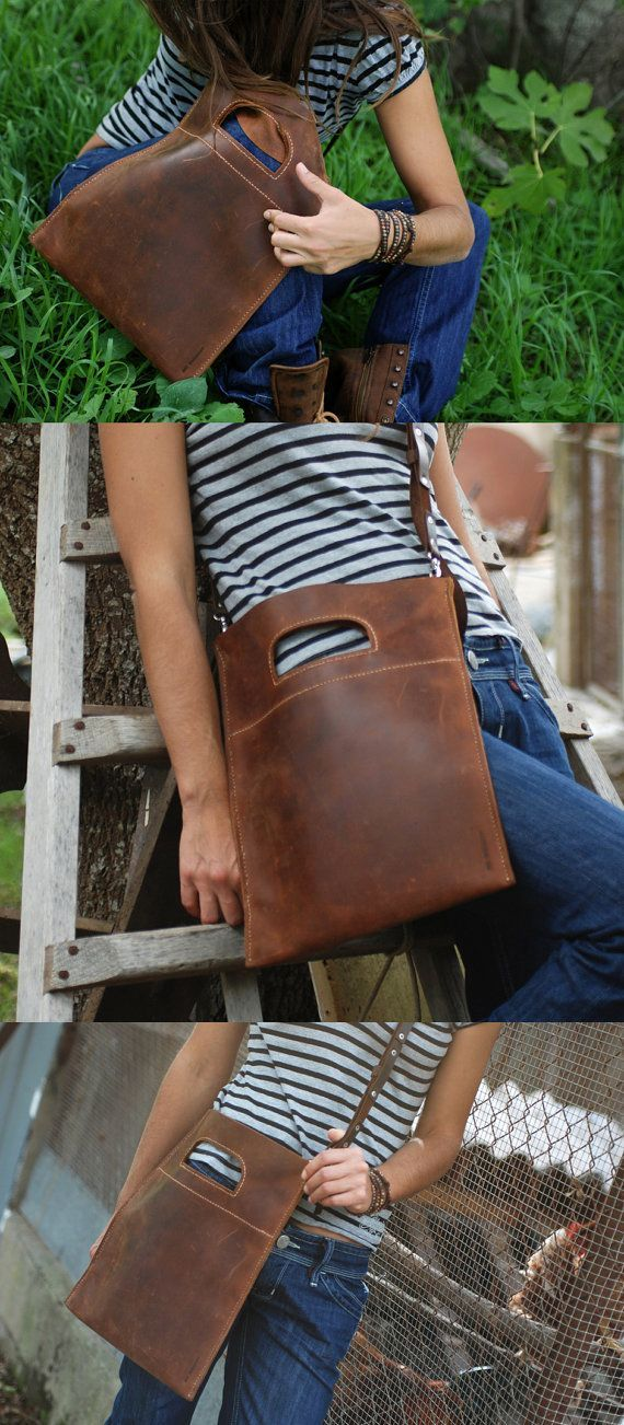 Waxed leather bag. Oiled leather tote. Bags and purses. Brown pull up leather handbag. Use like a clutch bag or shoulder bag. LB006. $286.00, via Etsy.