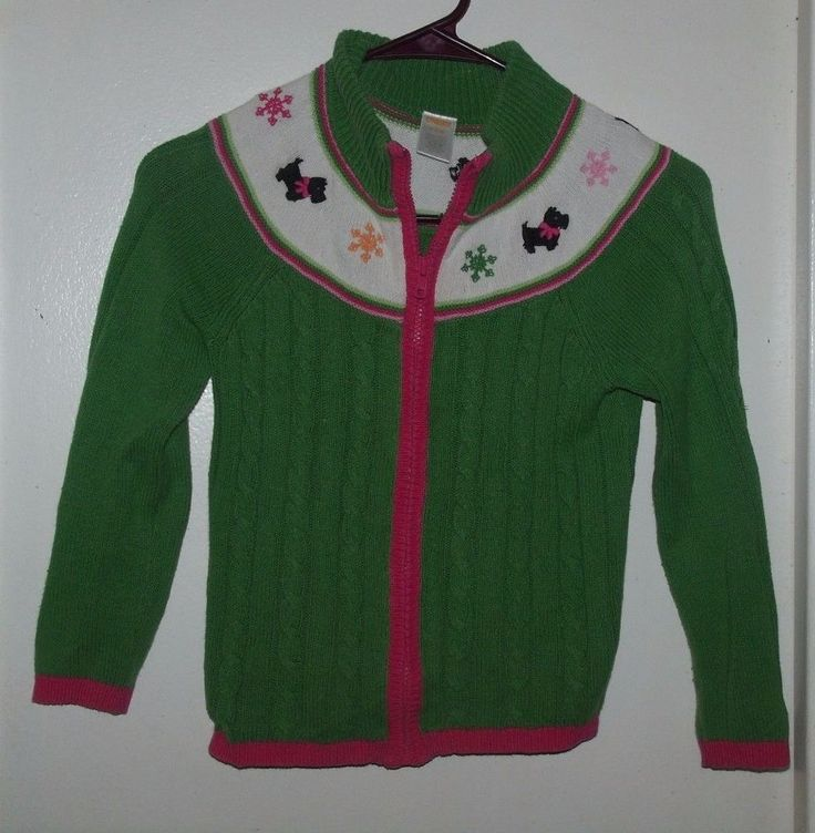 Gymboree cheery all the way green pink white scottie dog snowflake