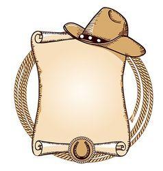 Cowboy hat and lasso American vector