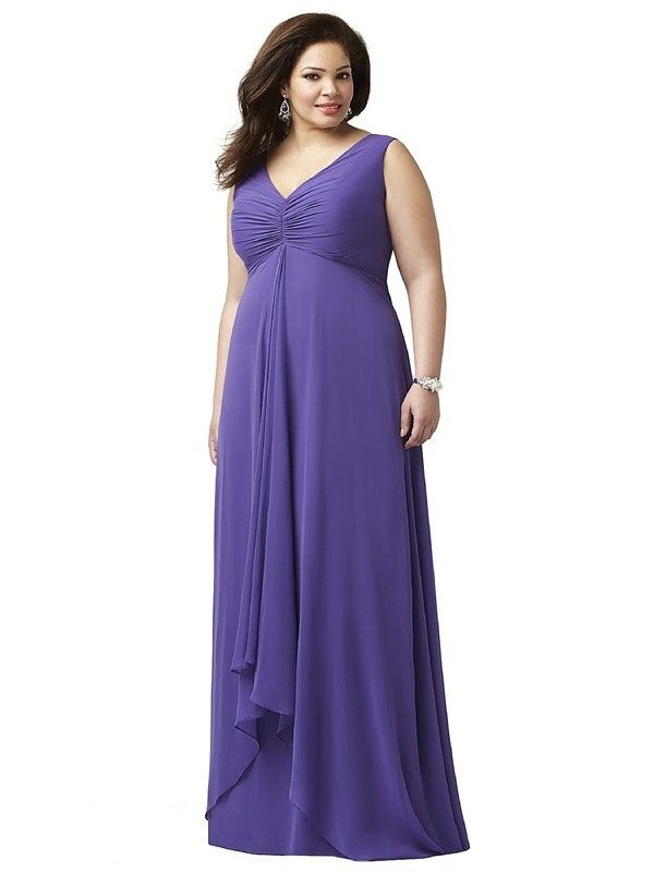 Dessy Lovelie 9002 Bridesmaid Dress.  This sleeveless full-length plus size gown embraces the fuller figure to flattering effect. Fashioned from Lux Chiffon, the gown has a high back and empire waist. The ruched bodice is gathered at the center, showcasing a V-neckline. The long skirt flows in flattering lines and features an appealing high-low hemline.