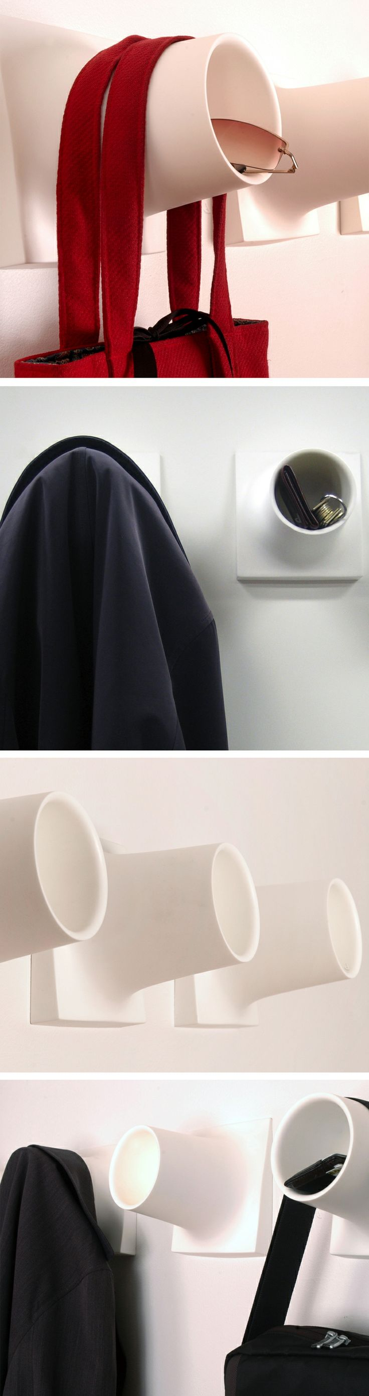 Cubby coat hook // this clever design features a cubby to put keys, glasses etc. and gently hang a coat #product_design