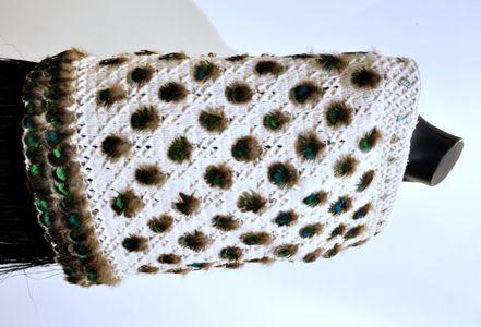 Robin Hill Kura Gallery Maori Art Design New Zealand Aotearoa Weaving Feather Cloah Medium Lentgh Kurapikao Peacock Paua