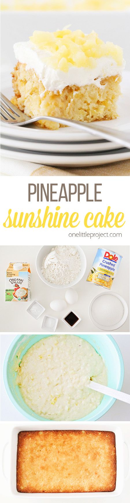 This light and fluffy pineapple sunshine cake tastes just like springtime! It's so easy to make and the perfect spring dessert!