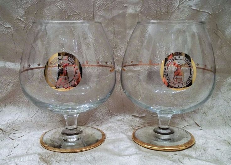Two Vintage United States Air Force Academy Brandy Glasses USAFA Snifters