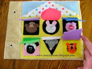 quiet book shapes with animals underneath blog has lots of cute ideas