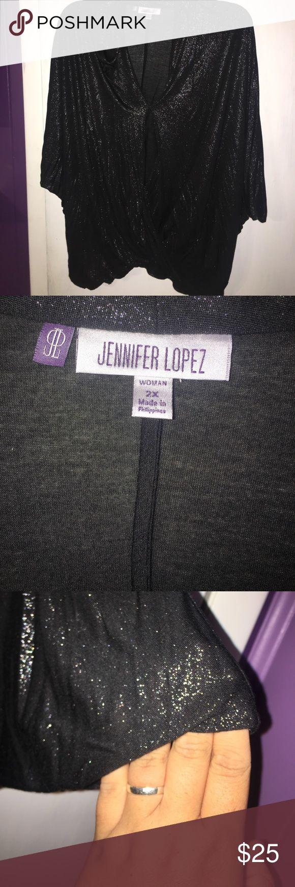 Black sparkly 2X Jen Lopez shirt NWT Perfect condition NWT Sparkly black shirt Jennifer Lopez Tops Blouses