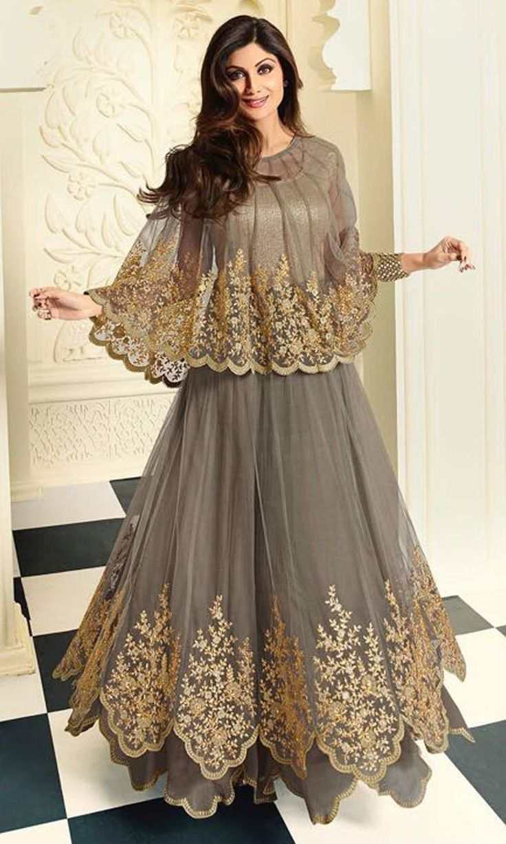 Floor Length Grey Anarkali Suit - SUEBRKR5407
