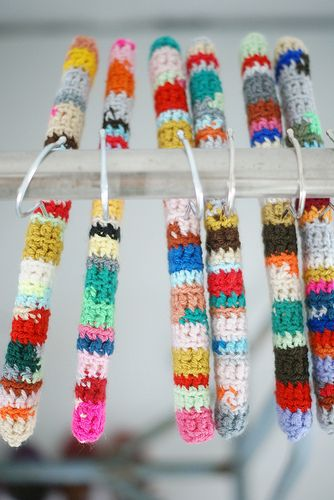 Crocheted hangers - use the MAGiC NO TAIL KNOT to tie scraps together for this project!
