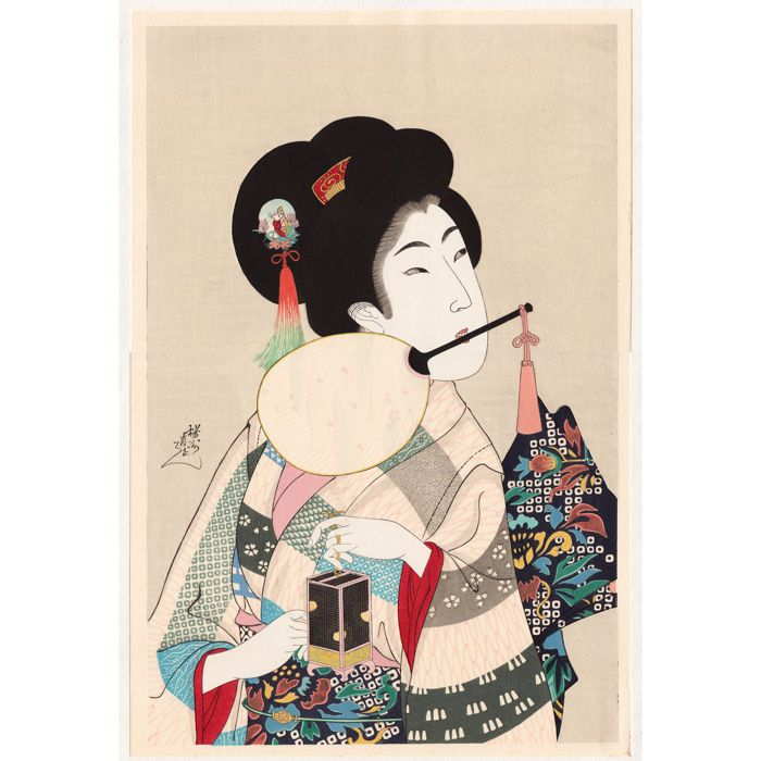 """Grote woodblock print (opnieuw gesneden) """"真美人 蛍 nummer 34"""" 1898 / """"Kalender afdrukken voor juli 1910"""" door Toyohara Chikanobu (1838-1912) - Japan - jaren 1980  Grote houtblokschilderij """"真美人 蛍 nummer 34"""" (1898) ook gebruikt als """"Kalender afdrukken voor juli 1910"""": """"A mooie vrouw Holding the verwerken van een Fan tussen haar tanden en een kooi van vuurvliegjes"""" door Toyohara (Yoshu) Chikanobu (1838-1912). Opnieuw gesneden in de jaren 1980.In 1910 ook gebruikt als een reclame-agenda…"""