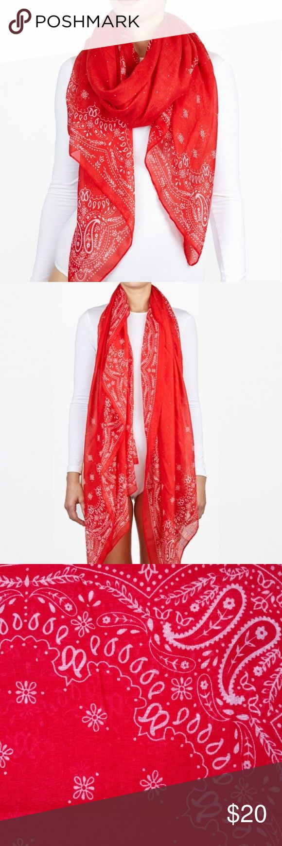 Adorable Red Bandanna Cozy Scarf This scarf is super cute and looks great with so many different outfit pairings. Good for all seasons and can be styled in many different ways. Accessories Scarves & Wraps
