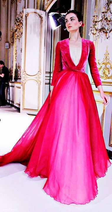 Georges Hobeika Haute Couture F/W 2012-13 Hot Pink Dress
