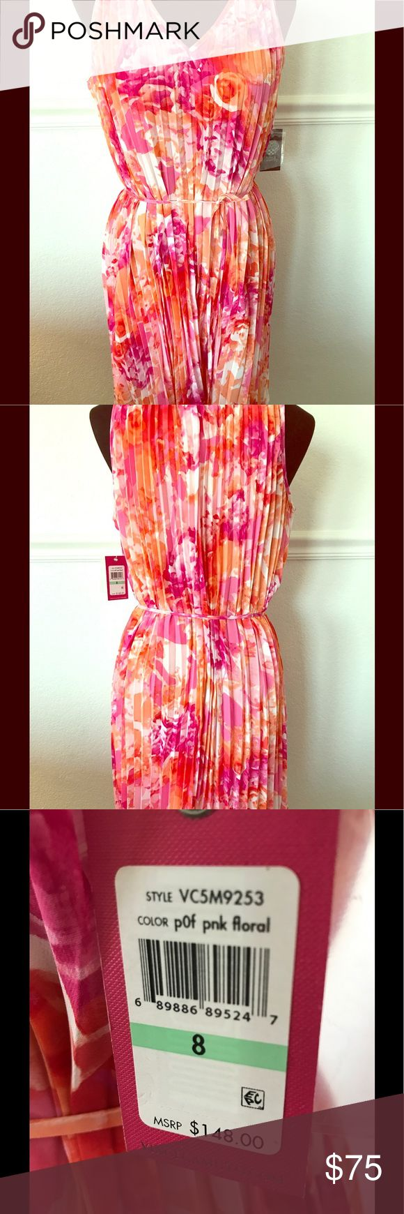 Floral and coral, flirty and fun dress! NWT Vince Camuto dress for day or night.  Would look fantastic with metallic, strappy heels!  Gorgeously girly! Vince Camuto Dresses