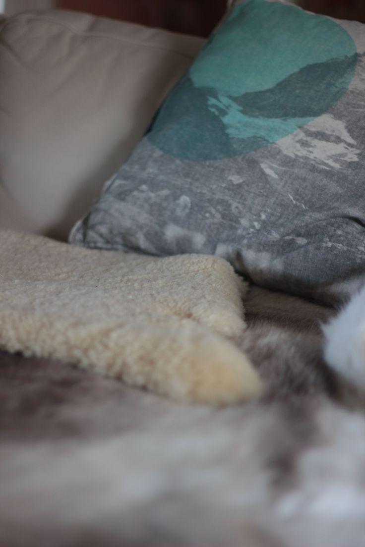 swiss alps cushion | sheep skin | deer skin