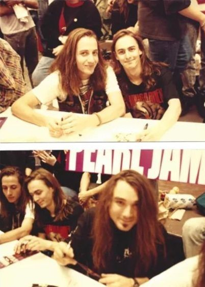 Stone Gossard, Mike McCready and Dave Abbruzzese, Tower Records in New York, 1991