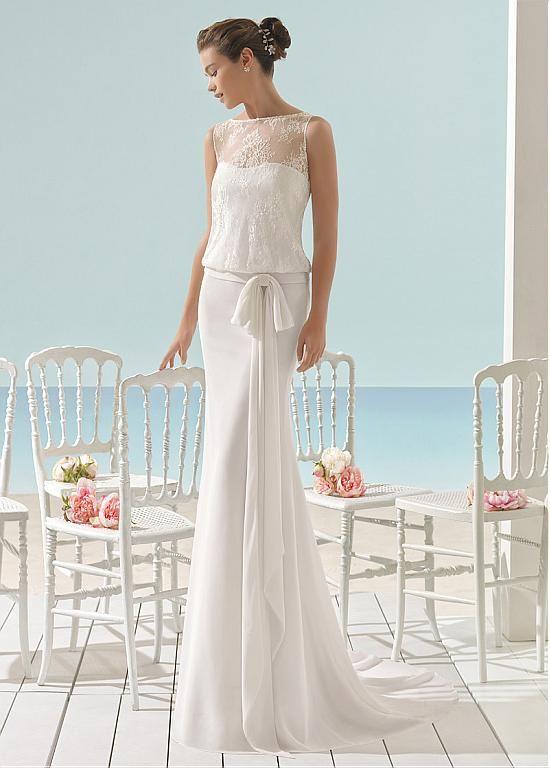 Fascinating Lace & Chiffon Bateau Neckline Sheath/Column Wedding ...