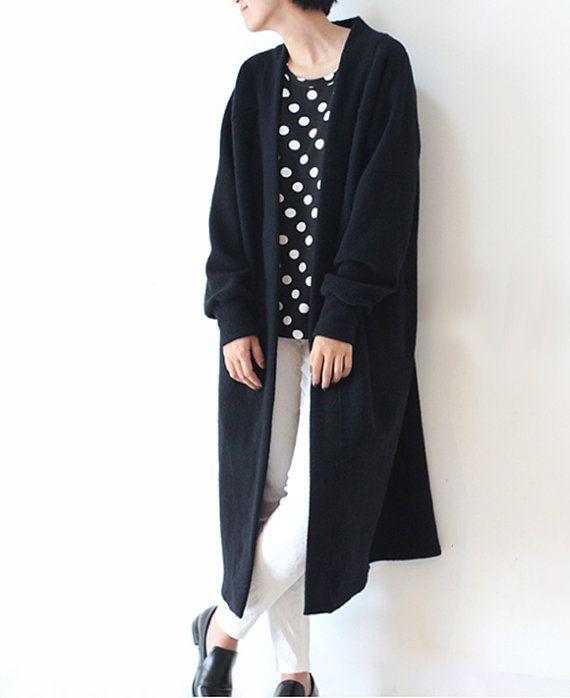 Black cashmere coat long wool coat winter coat long by lanbao