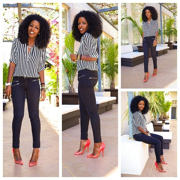 """@Karen Jacot Jacot Darling Pantry's Outfit: """"Stripes and casual Friday!"""" Blouse by Shoxie! #ShoxieLady"""