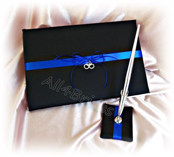 Thin blue line wedding guest book with handcuff by All4Brides
