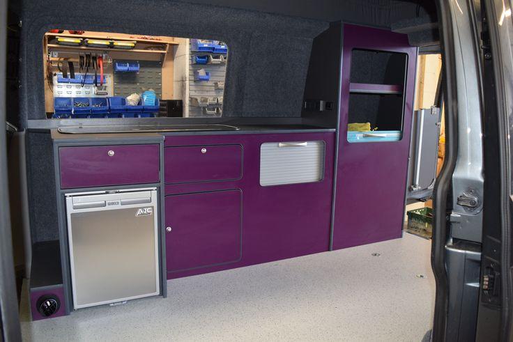 VW camper van purple cupboards