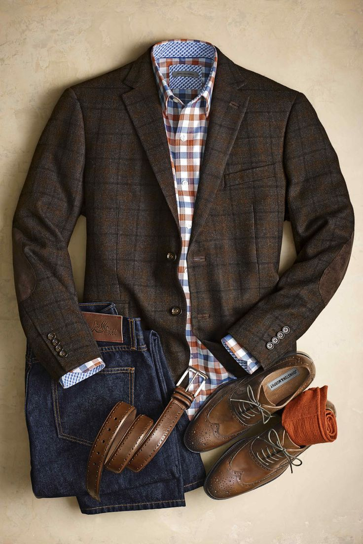 Johnston & Murphy. Wool-Blend Blazer, Herringbone Check Shirt, J & M Denim, Perfed-Edge Belt, Pima Cotton Socks, Tyndall Wingtip.