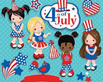 4 de julio, día de la independencia las niñas imágenes prediseñadas – bandera americana, Ave americana, 4 de bandera julio, estrellas, marco y personajes lindos.