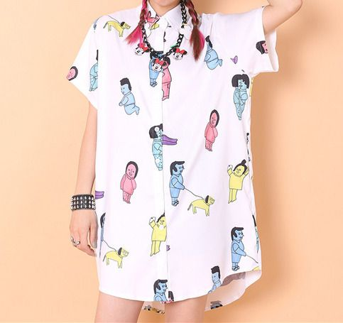 shoulder:40cm  chest:58cm  Length:81-89cm  Sleeve length:17cm  This top is so cute !! Please buy it ^.^  For more  http://molamola.storenvy.com/products/13011939-cat-face-printed-shirt http://molamola.storenvy.com/products/12883783-college-style-embroidery-dress  http://molamola.stor...