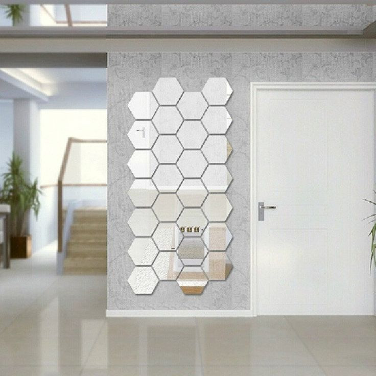3D Geometric Silver Mirror