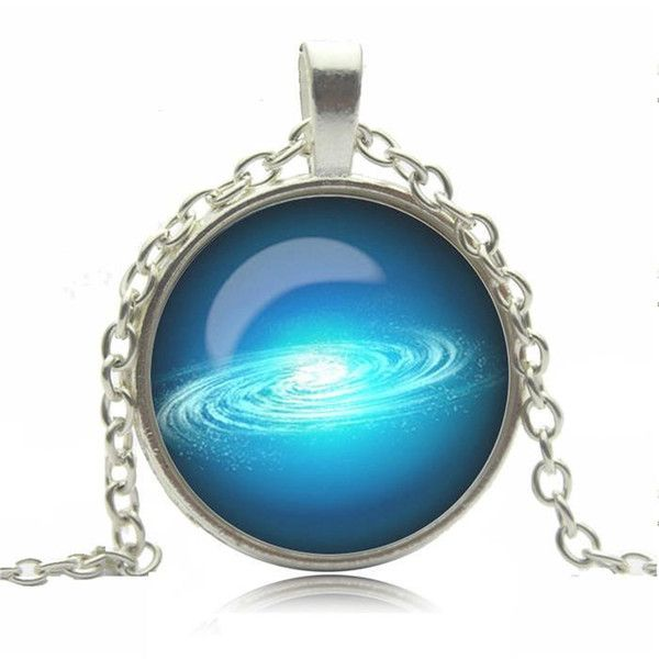 Biżuteria łańcuszek przywieszka galaktyka niebiesk w Schmuck na DaWanda.com