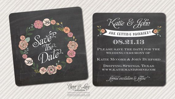 Save The Date Postcard Floral chalkboard by paperandlaceaustin, $1.80