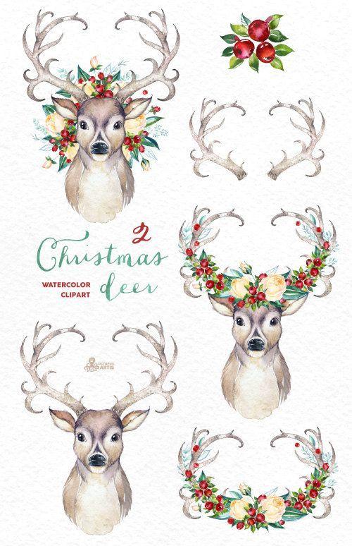 Christmas Deer 2. Watercolor deers antlers flowers by OctopusArtis
