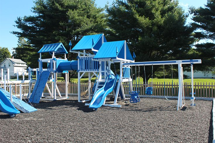 Playground at a church in Waterville, Maine.  http://www.hillviewminibarns.com/vinyl_swing.php